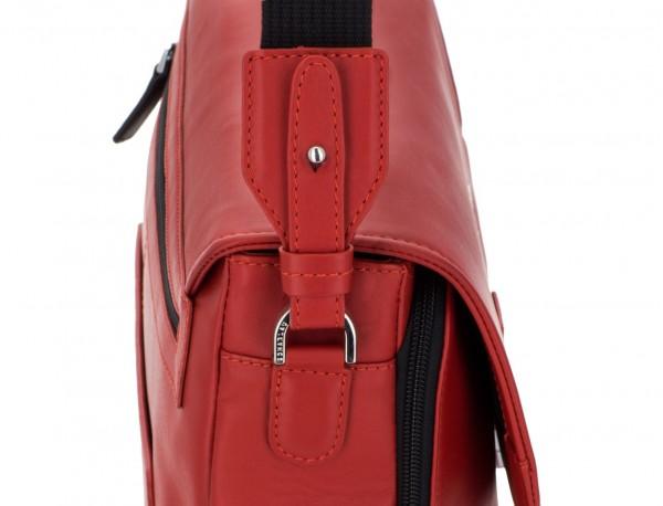 leather briefbag with flap red shoulder strap