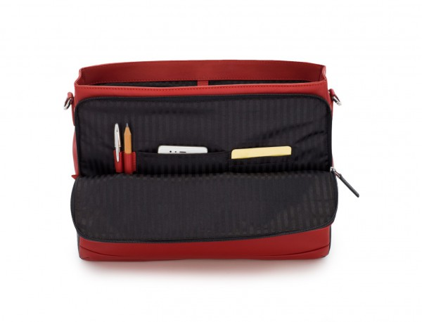 leather briefbag with flap red functional