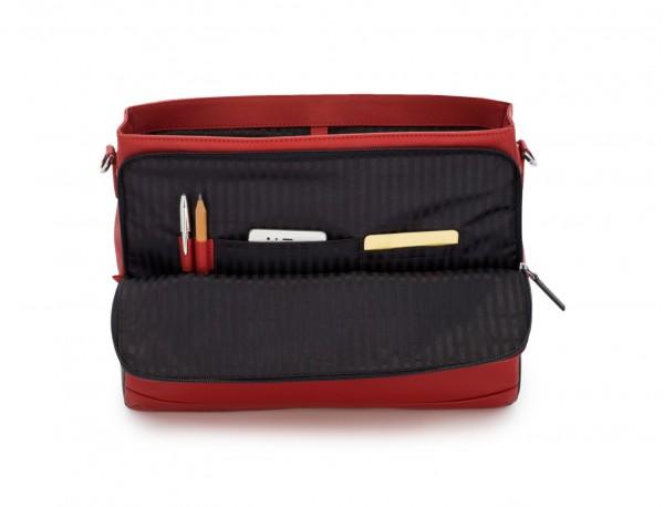 maletín con solapa de cuero marrón rojo  funcional