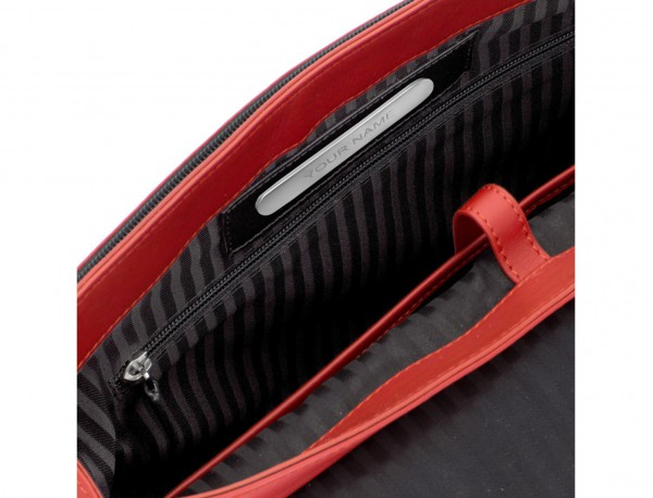 maletín con solapa de cuero marrón rojo personalizado