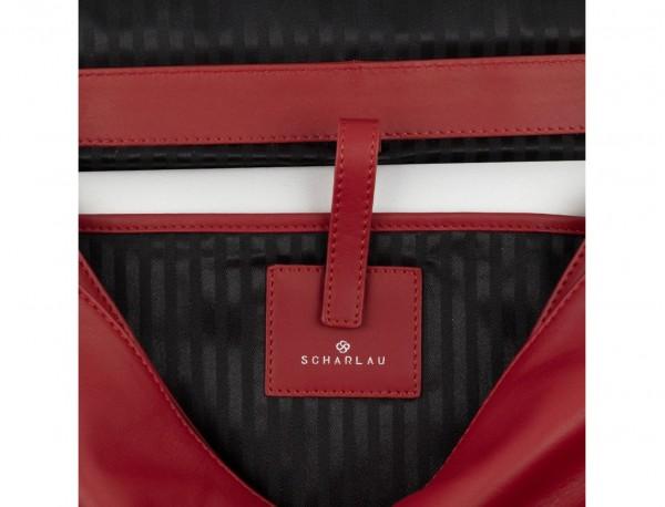 maletín con solapa de cuero marrón rojo ordenador