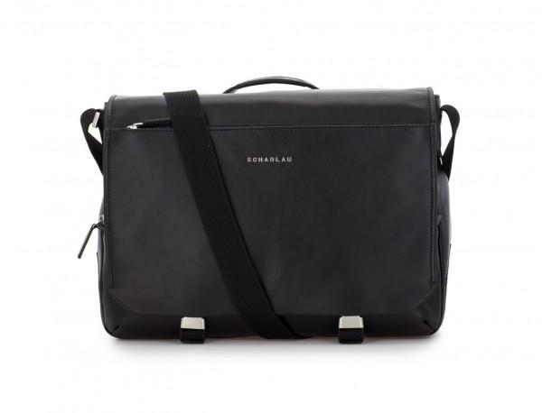 leather messenger bag black front