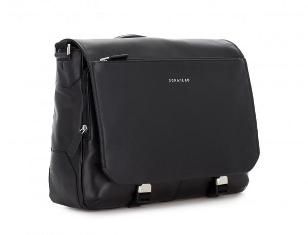leather messenger bag black side