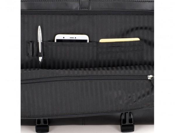 leather messenger bag black open