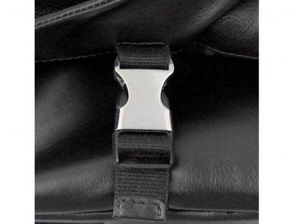 bolso mensajero de cuero negro cierre