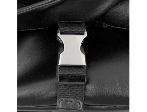 Cartella messenger in pelle nero  clasp