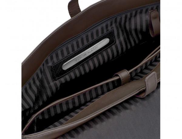 Cartella messenger in pelle marrone personalized