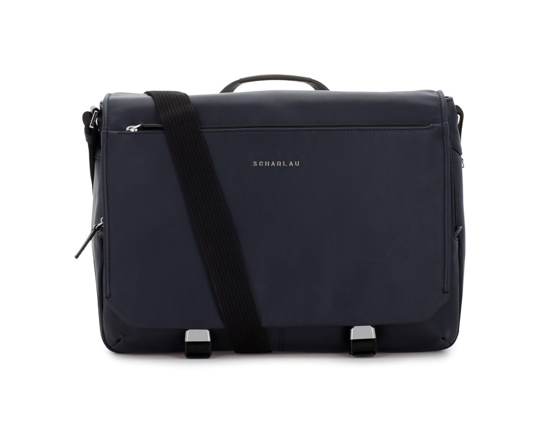 leather messenger bag blue front