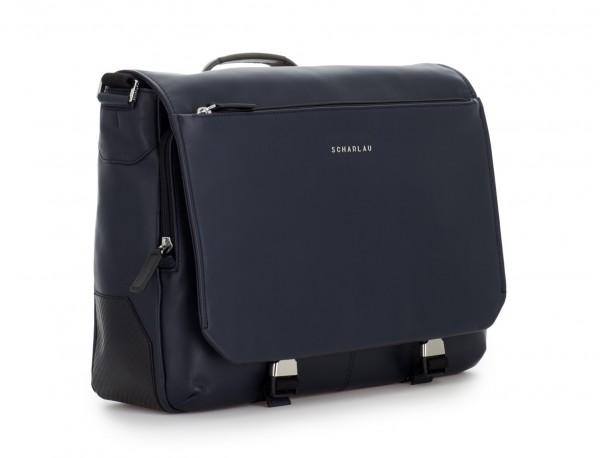 leather messenger bag blue side