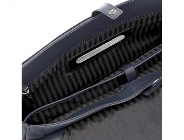 bolso mensajero de cuero azul personalizado