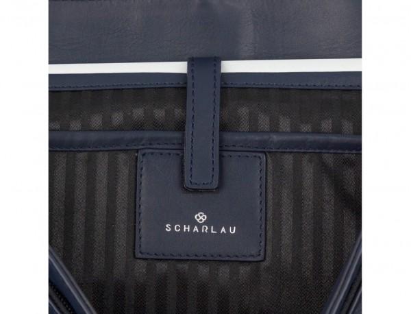 Cartella messenger in pelle blu laptop