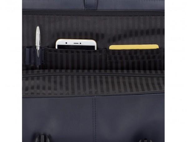 leather messenger bag blue open