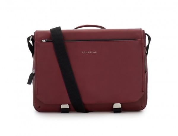 leather messenger bag burgundy front