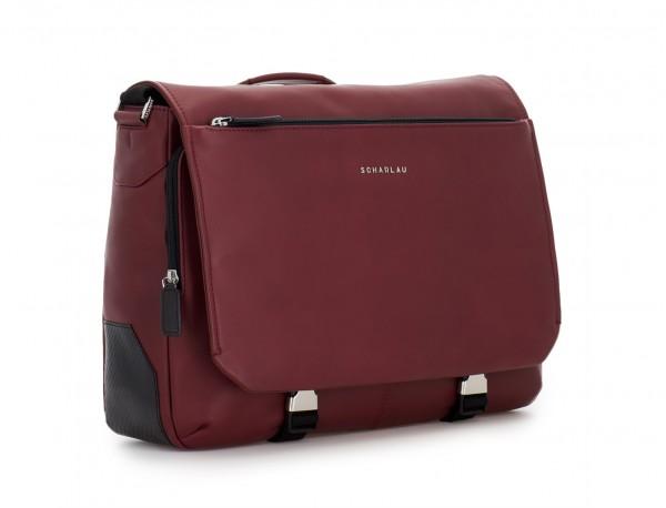 leather messenger bag burgundy side