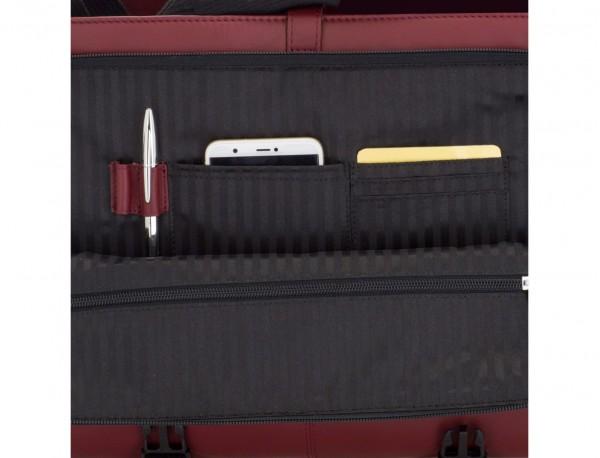 leather messenger bag burgundy open