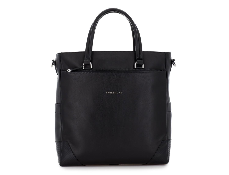 leather laptop woman bag black front