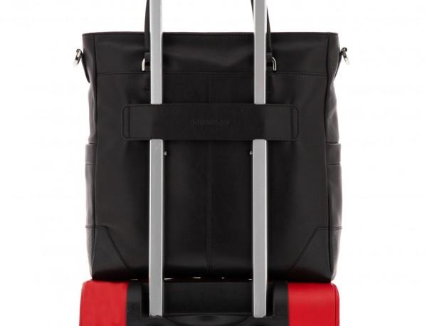 leather laptop woman bag black  trolley