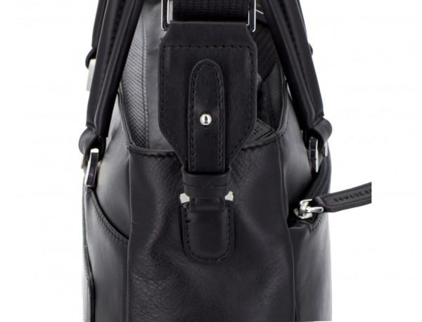 leather laptop woman bag black  strap