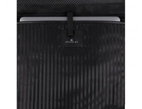 leather laptop woman bag black  detail