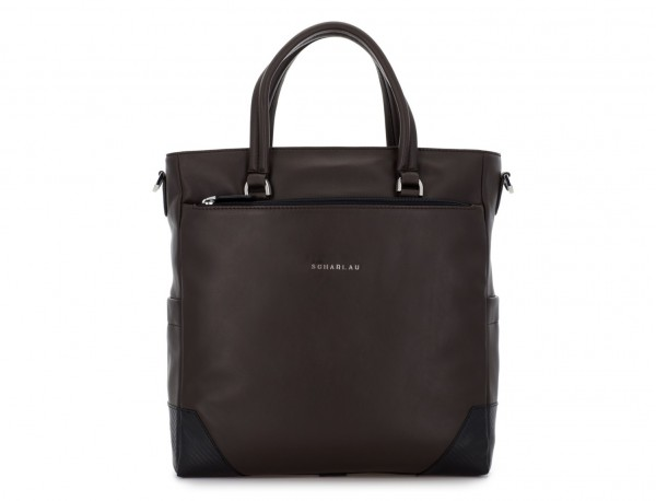leather laptop woman bag brown front