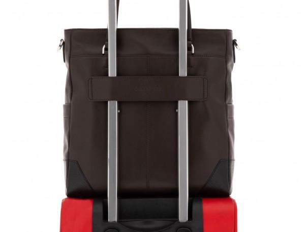 leather laptop woman bag brown trolley
