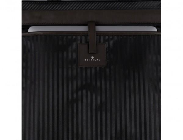 leather laptop woman bag brown detail