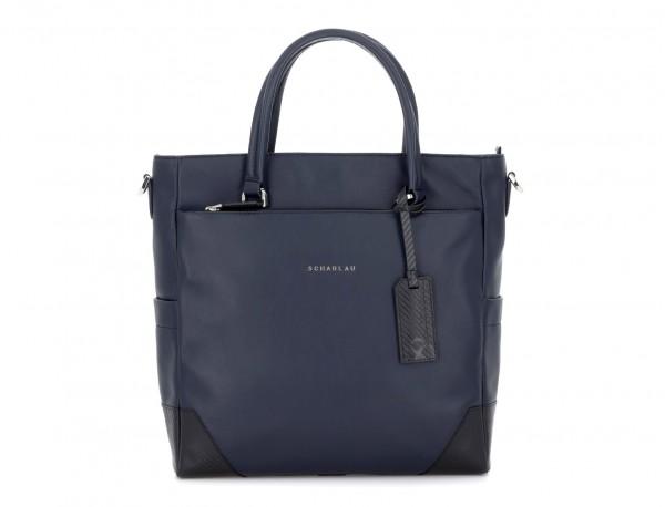 leather laptop woman bag blue front