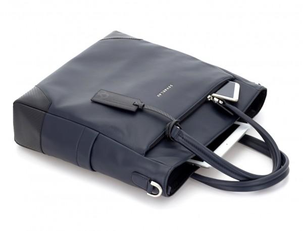 bolso mujer para ordenador de cuero azul tumbado
