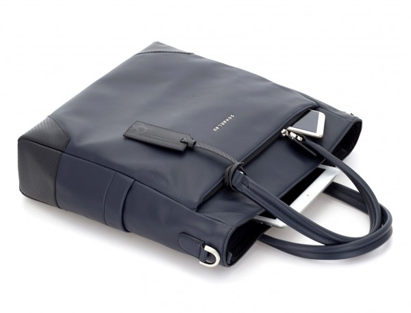 leather laptop woman bag blue side