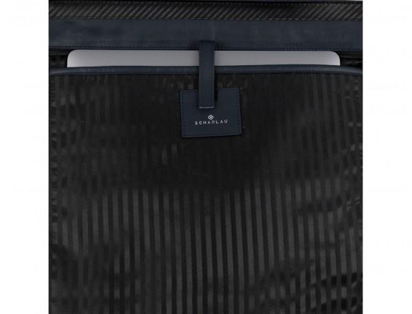 bolso mujer para ordenador de cuero azul perfil