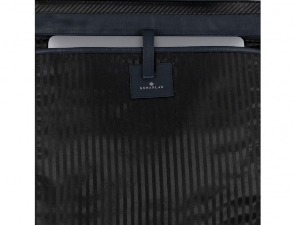 leather laptop woman bag blue  detail