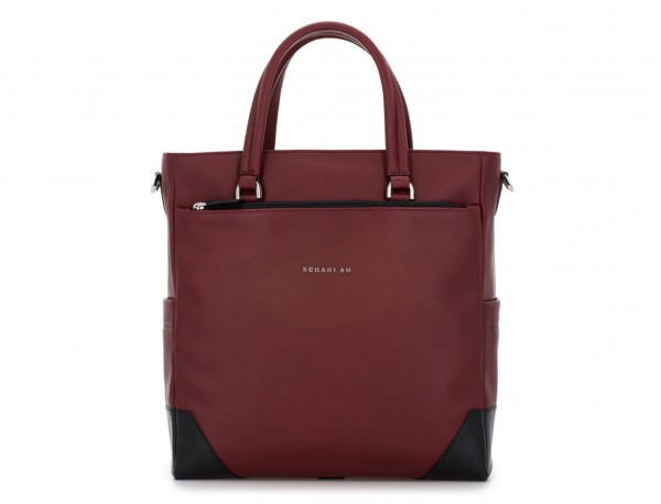 leather laptop woman bag burgundy front
