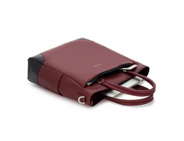 leather laptop woman bag burgundy side