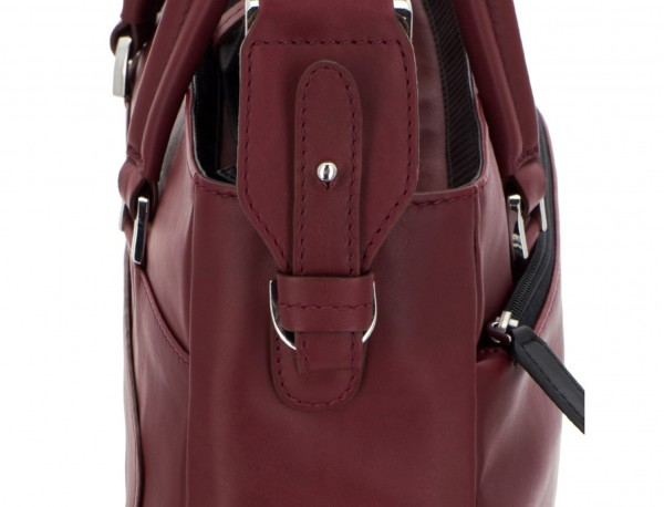leather laptop woman bag burgundy strap