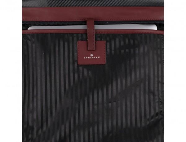 leather laptop woman bag burgundy detail