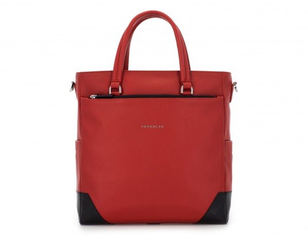 leather laptop woman bag red front