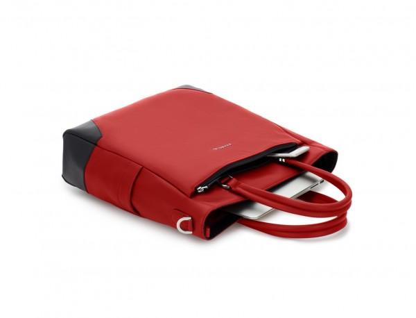 bolso mujer para ordenador de cuero rojo lado
