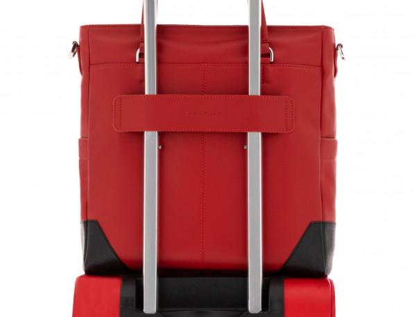 leather laptop woman bag red trolley