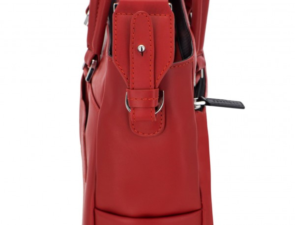 leather laptop woman bag red strap