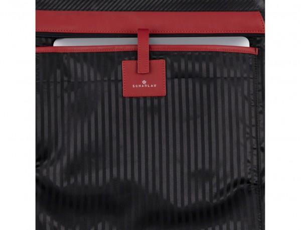 bolso mujer para ordenador de cuero rojo detalle