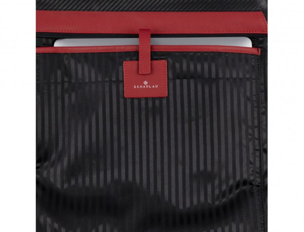 leather laptop woman bag red detail