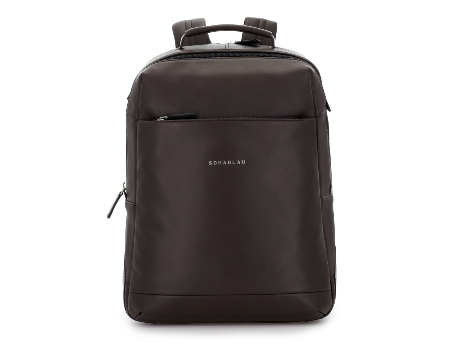 leather laptop backpack brown front