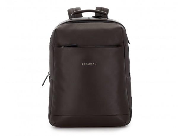 mochila de cuero para portátil marrón frontal