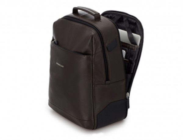 mochila de cuero para portátil marrón lado