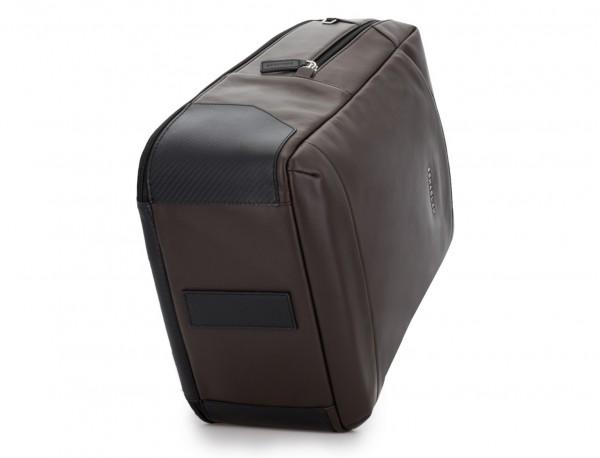 mochila de cuero para portátil marrón base