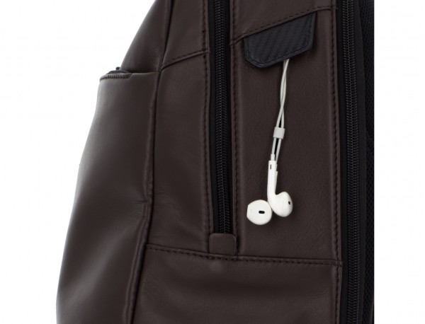 leather laptop backpack brown detail