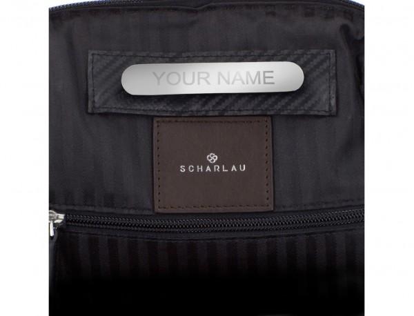 mochila de cuero para portátil marrón personalizada