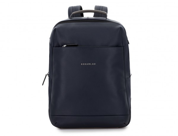 leather laptop backpack blue front