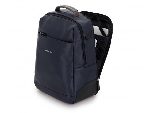 mochila de cuero para portátil azul lado
