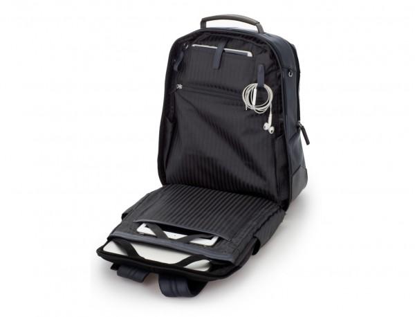 mochila de cuero para portátil azul interior